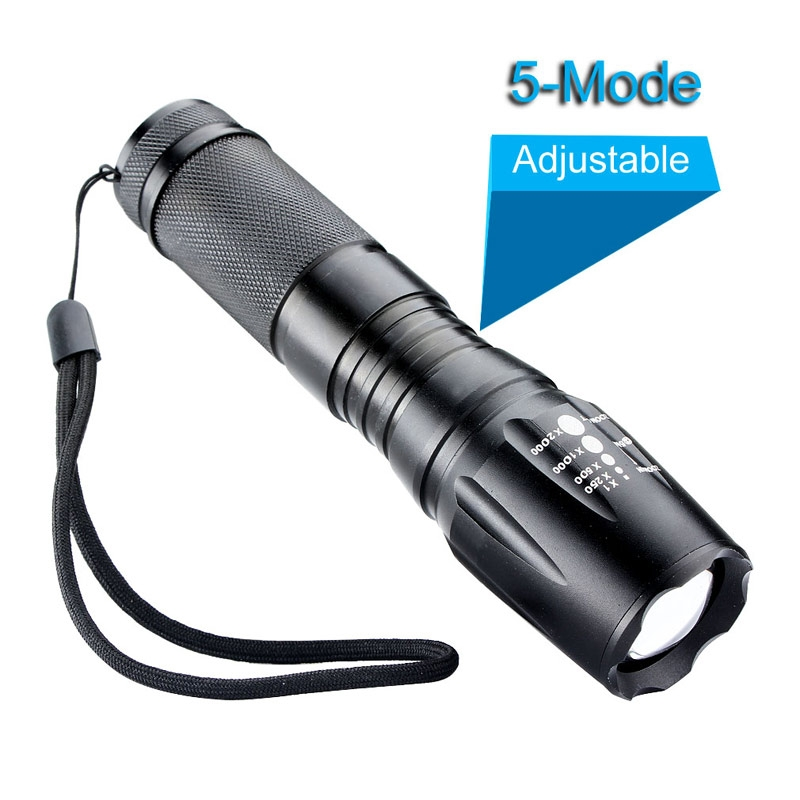 Zoomable Focus CREE XM-L T6 Flashlight 3000 Lumens 5 modes Tactical LED Flashlight Torch ...