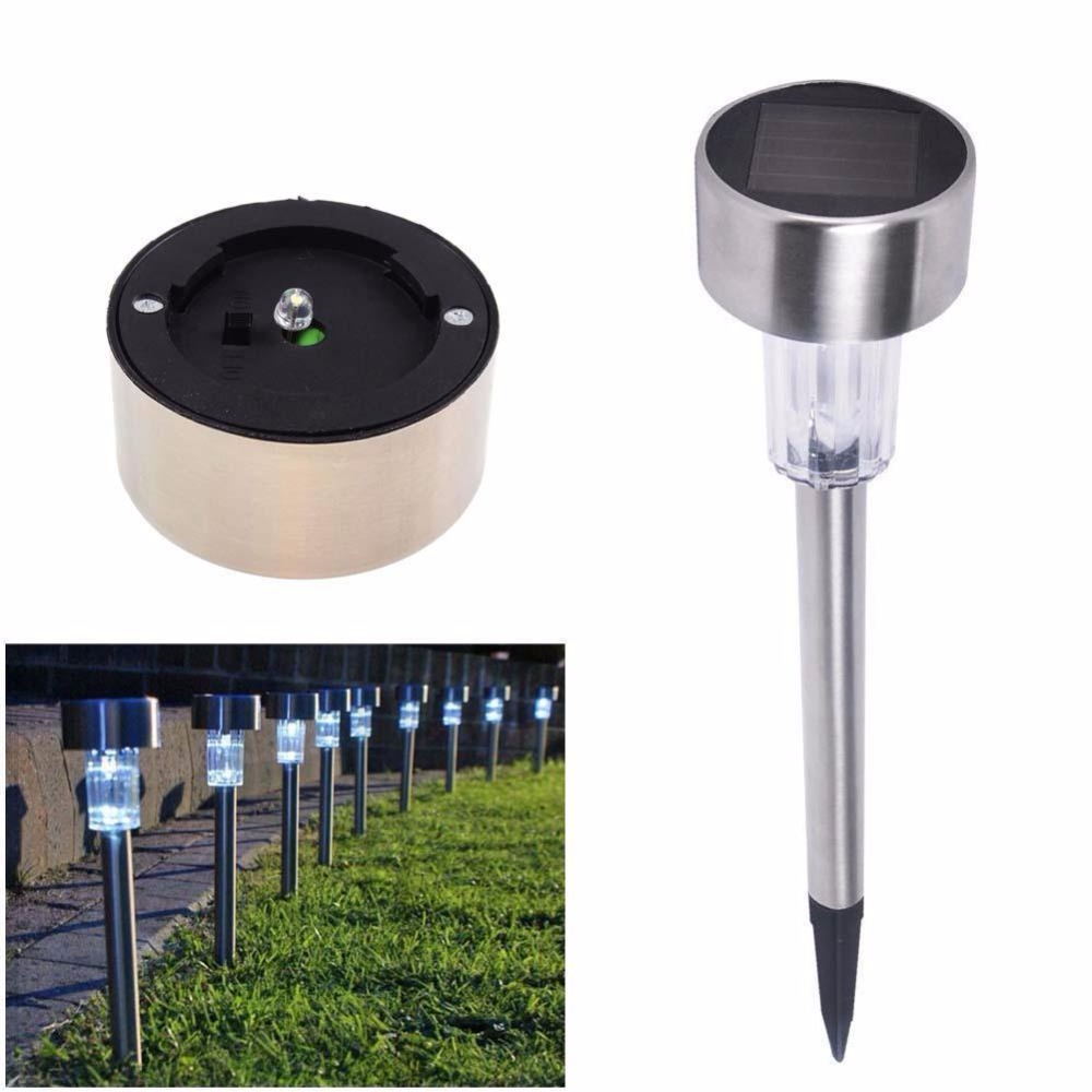 High quality 10pcs/lot Stainless steel Solar lawn light for garden drcorative 100% solar power Outdoor solar lamp luminaria