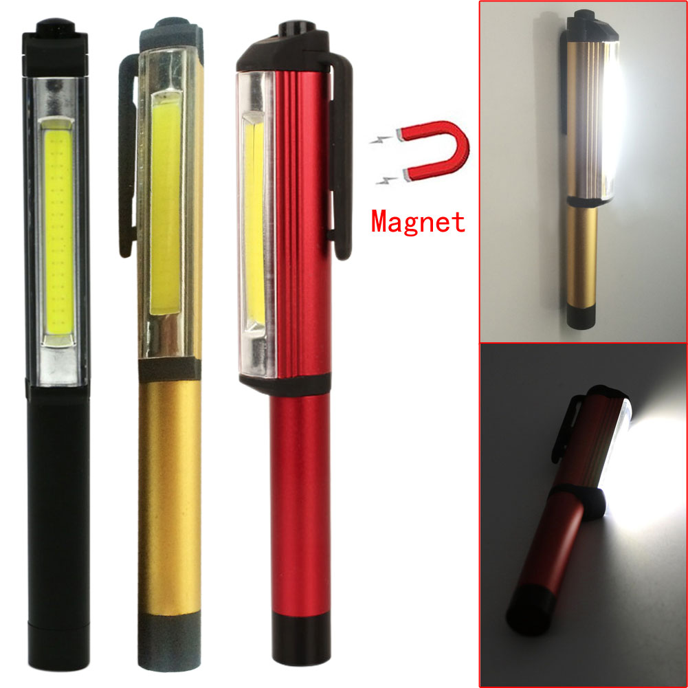 High Quality Portable COB 3W LED Pen Flashlight Magnetic Clip LED Lamp Light For home car camper