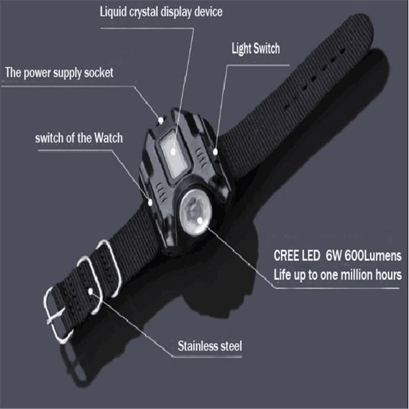 Led watch Flashlight Flash Light lamp XPE Q5 R2 LED Wristlight Torch Light USB Charging Rechargeable tactical linternas