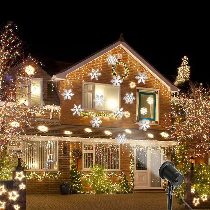 Waterproof Moving Snowflake Laser Projector Lamps Snow LED Stage Light For Christmas Party Landscape Light Outdoor Garden Lamp