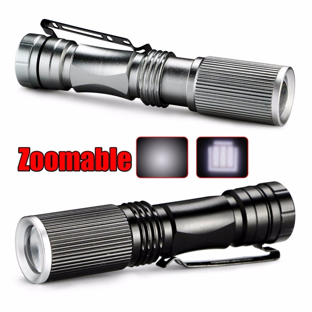 Portable Zoomable 1000 Lumens Mini Flashlight Outdoor Camping Hiking LED Flashlight Torch Lamp Lantern Silver / Black