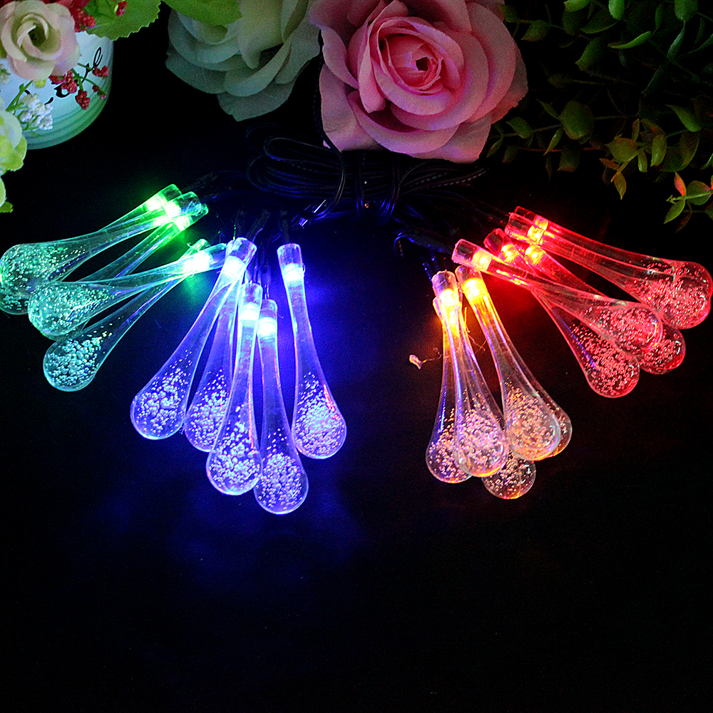 20 LEDs Water Drop Shape LED Garden Fairy Lights for Wedding Party Christmas Holiday Lighting Strings Solar Lights Garland Lamp