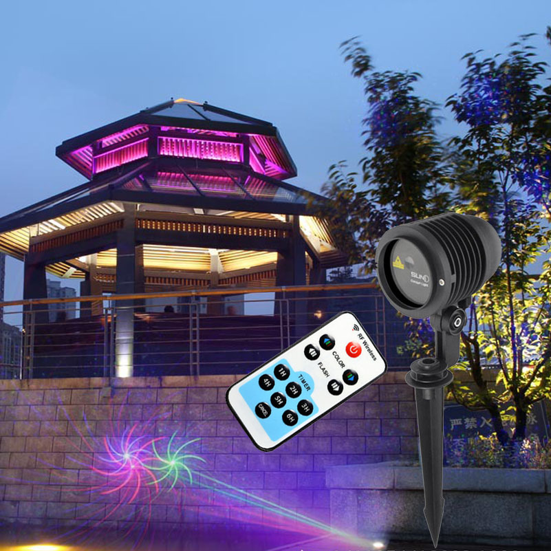 9 Patterns RGB Outdoor Landscape Lighting Waterproof Garden Lawn Laser Lights Remote Christmas Decoration Show Projector IP65