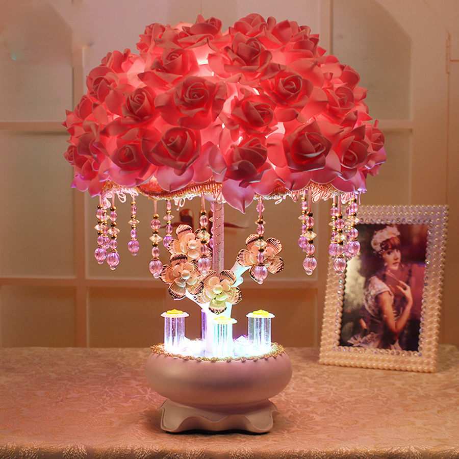 New roses wedding room decoration table lamp home decoration led lamp wedding decorations