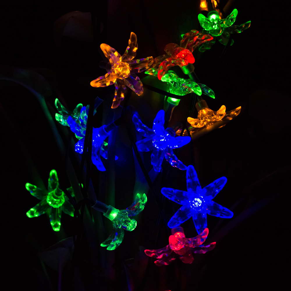LED Garland String Lights Fairy light string Solar Holiday Outdoor Garden Flower Blossoms Christmas String Lights For Decoration