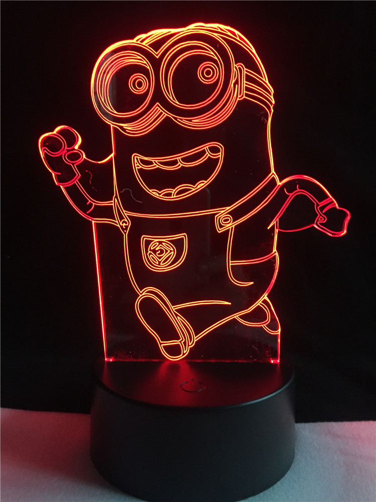 New Fashion Lovely 7 Color Changing Colorful Night Light Illusion Running Minions Touch Toy Lamp Friend & Children Gift Lighting