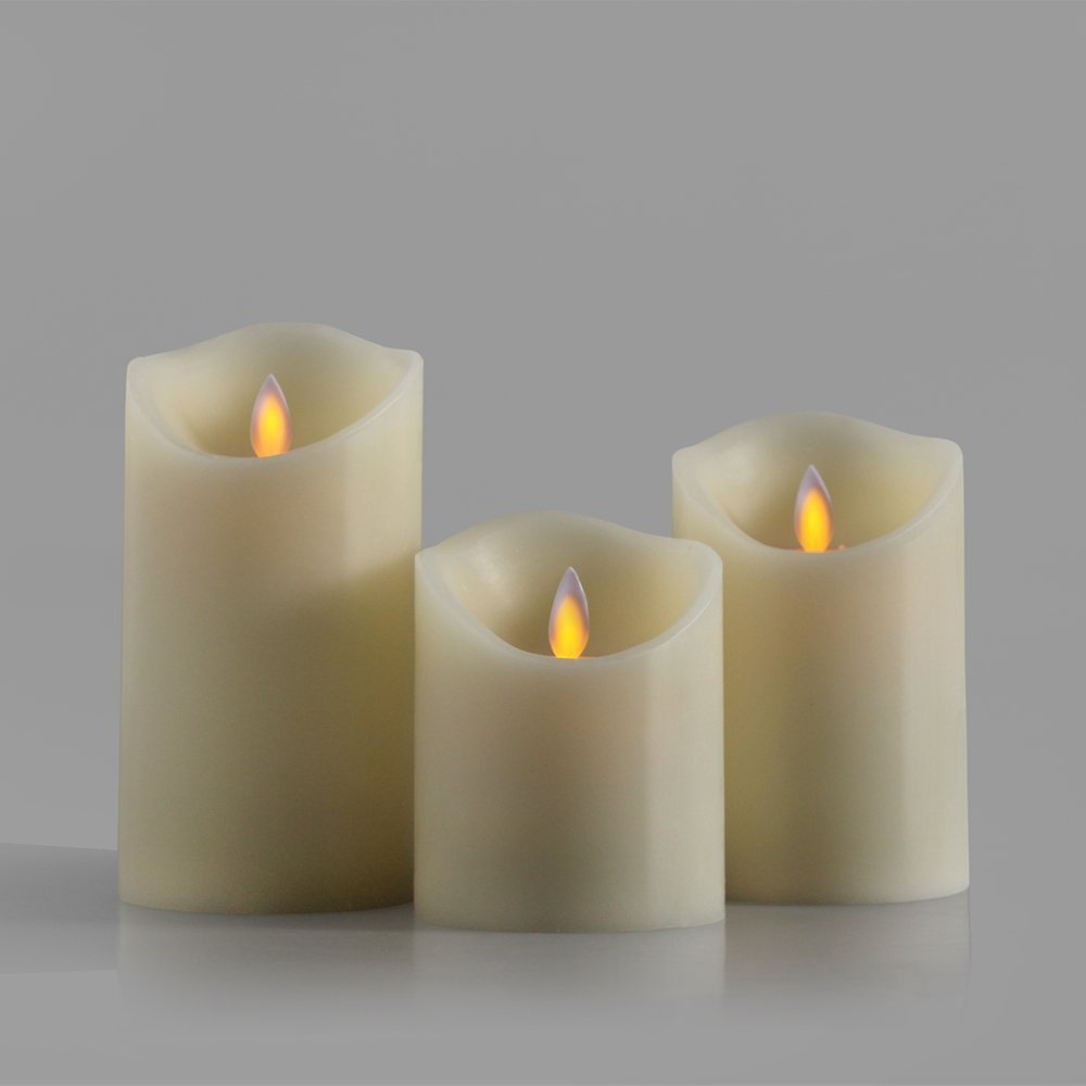 3pcs LED Candle Lot Candles Wax Lights With Remote Control Timer Light Lamp Candlelight Flicker Filament Candel Candela Pillar