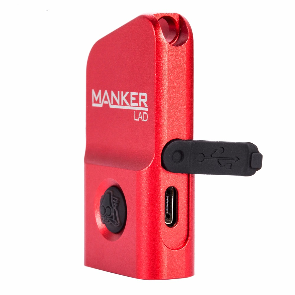 MANKER LAD 300lm Micro Sized LED USB Rechargeable Keychain Flashlight W/ Cree XP-G3 LED +2x Red Straw Hat LED for Everyday Carry