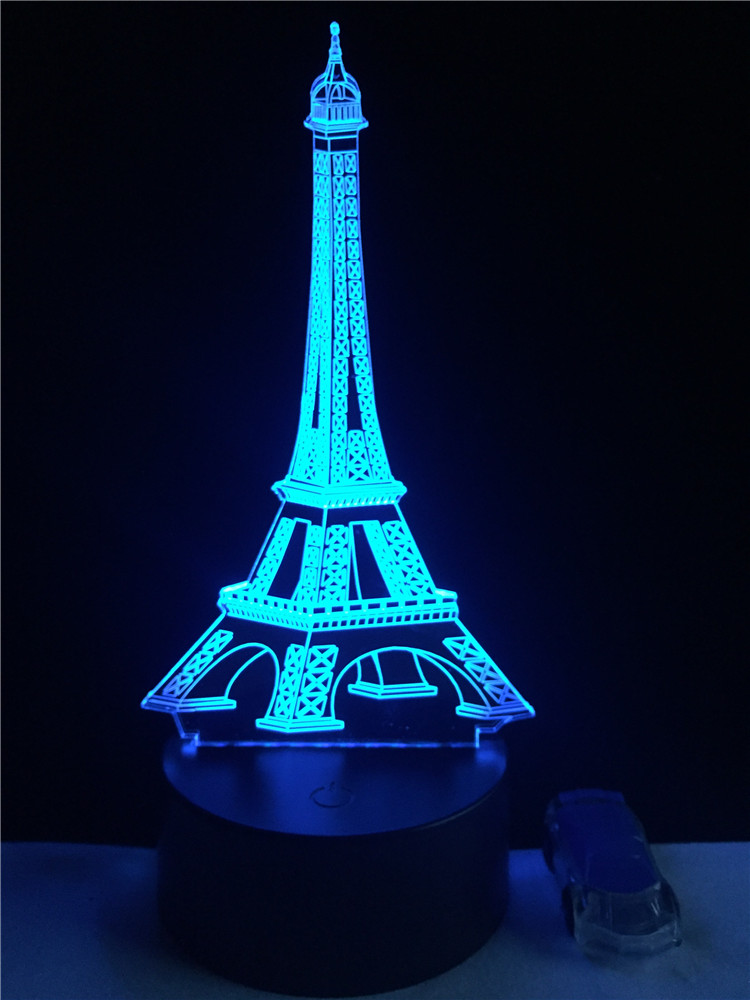 3D Fashion Romantic France Eiffel Tower LED Night Light RGB Changeable Mood Lamp Bedroom Table Lamp Kids Friends Family Gifts