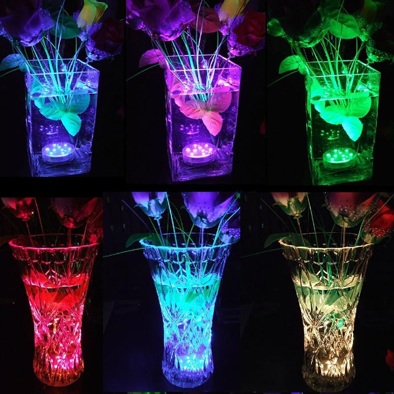 New 10 LED Waterproof Light RGB for Vase Wedding Party Fish Tank Decors Night Lights