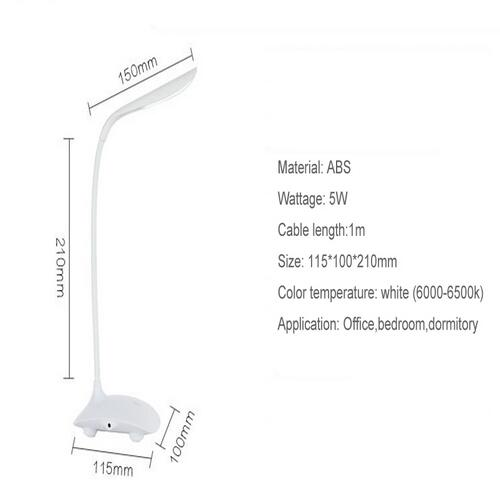 High Quality Adjustable LED Table Lamp Light USB Rechargeable Desk with Clip Touch Switch Dimmable Student Reading Lamp LED