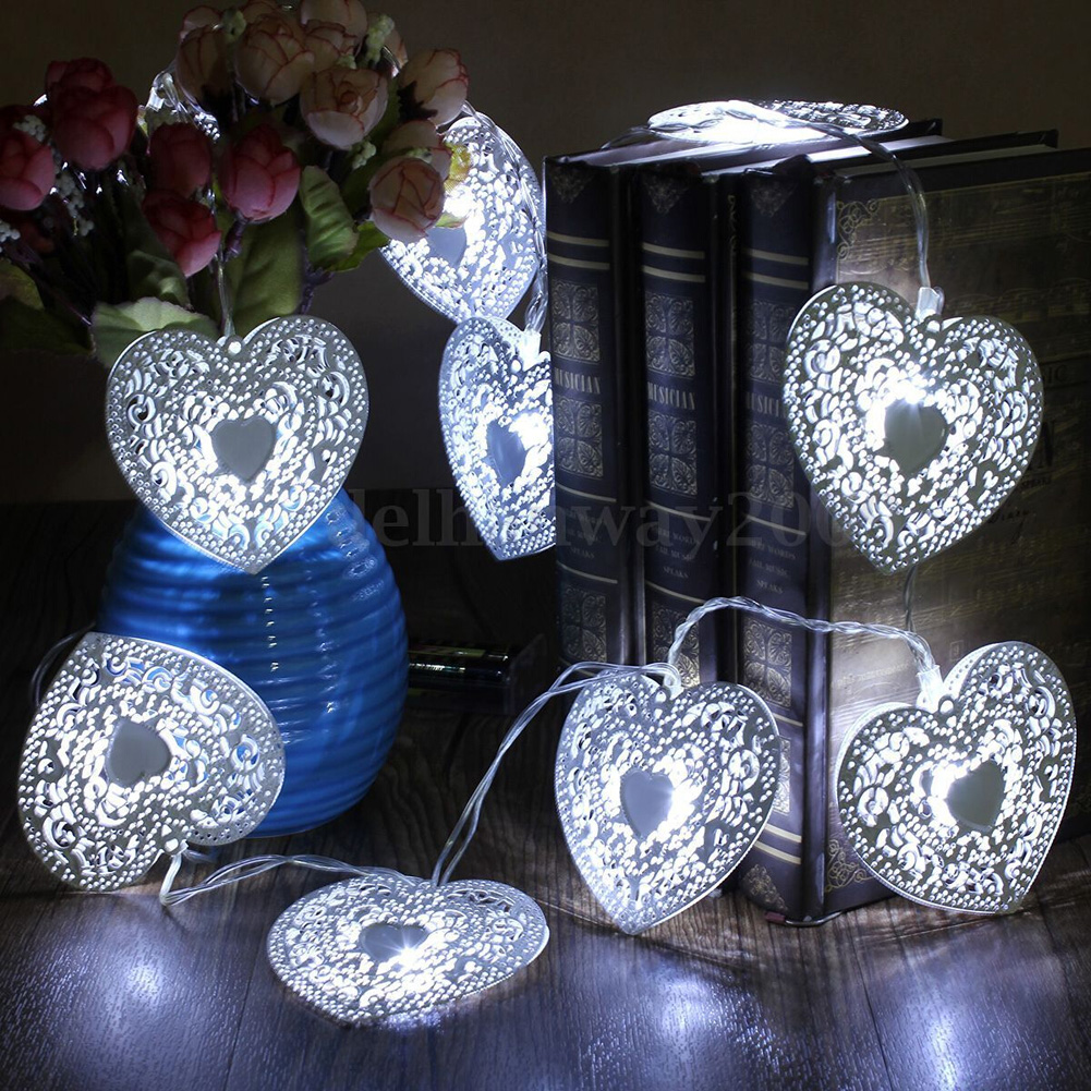 10 LED Cool White Metal Love Heart Light Wedding Christmas Holiday Party String Fairy Light Decoration Bedroom Holiday Light