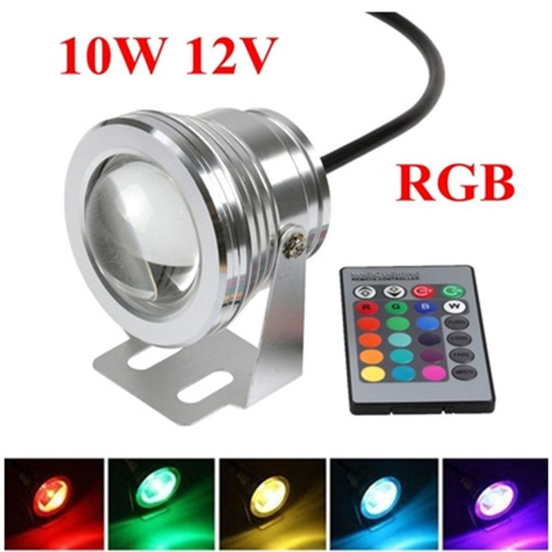 10W DC 12V Underwater RGB Waterproof LED Pool Light With Control Spot Light