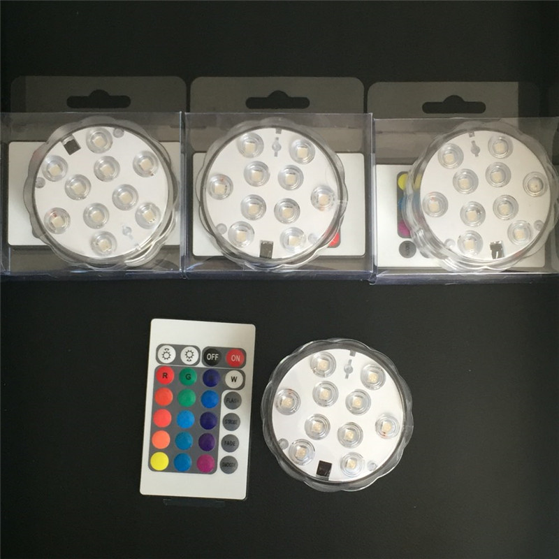 (4pieces/lot) 3AAA Battery Operated Remote Controlled RGB Multicolors Submersible LED Light Waterproof Candles
