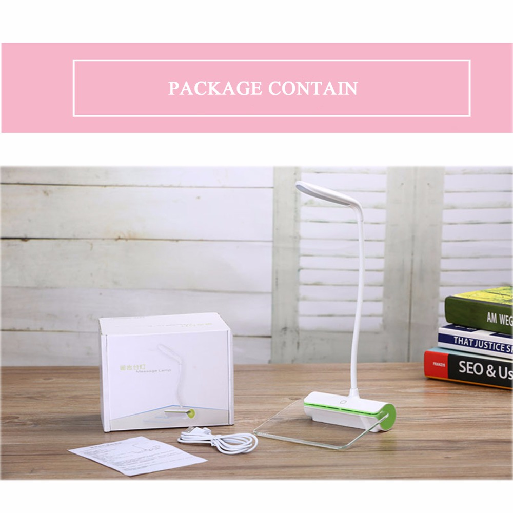 DC5V Led Desk Lamp Portable Touch Dimmable Table Lamp USB Rechargeable Table Light with Message Board for Kids Book Reading