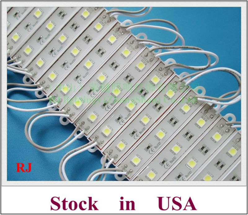 waterproof LED sign module light for channel letter SMD 5050 LED light module DC12V 3 led 45lm 0.72W shipping from local USA