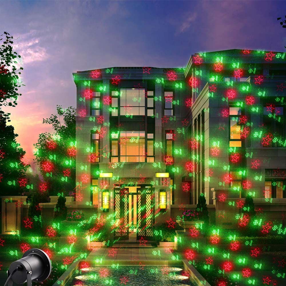 Holigoo Christmas laser lights Projector Waterproof, Red and Green Star Laser Show Xams for Christmas Holiday, Landscape, Garden