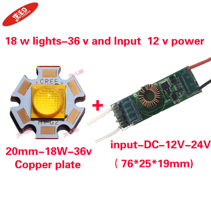 Freeshipping 1PCS Cree XLamp MTG-2 MTG2 18W 36V 36 v lights Neutral white 4000K 20mm Star Base Copper plate With 12 v driver