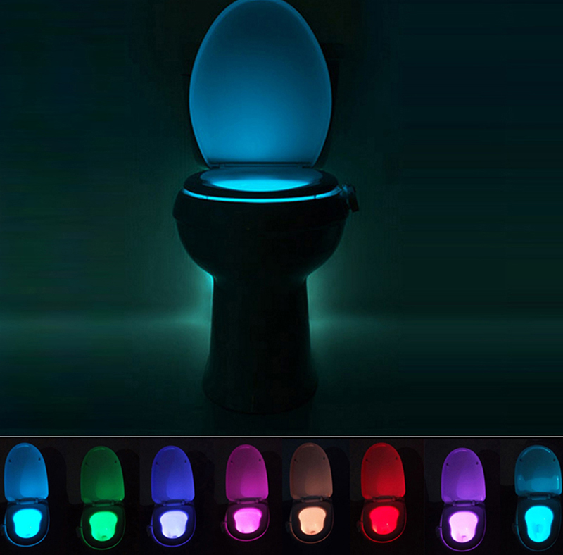 New 8 Color LED Night Light Motion Sensor Automatic Toilet Hanging Light Bowl with Color Setting AAA Battery-Operated