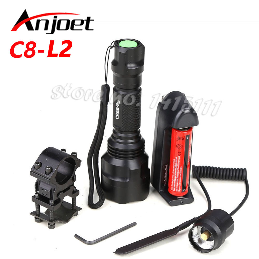 C8 Hunting Light Tactical flashlight CREE XM-L2 LED 1/5 mode  torch led Waterproof flashlight 18650 battery+Charger+Gun Mount