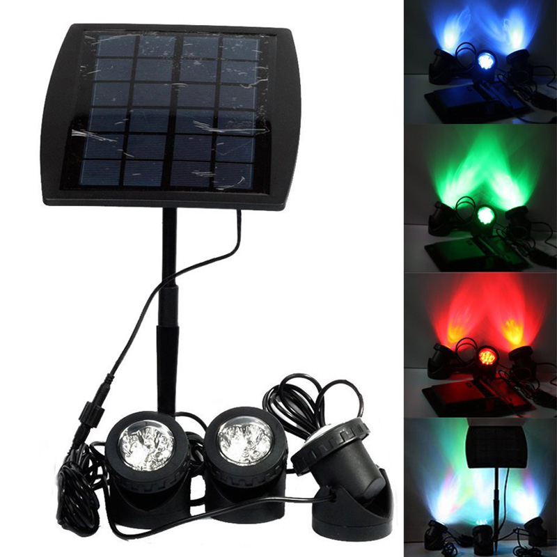 18 LED Solar Powered 3 Led Light With Light Sensor RGB Underwater Lamp Spotlight for Garden Pool Outdoor --M25
