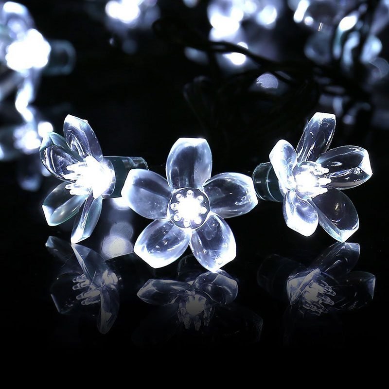 New 50 Led Outdoor Solar String Lights Blossom Flower Fairy Light For Wedding Party Bedroom Christmas Garden Decoration