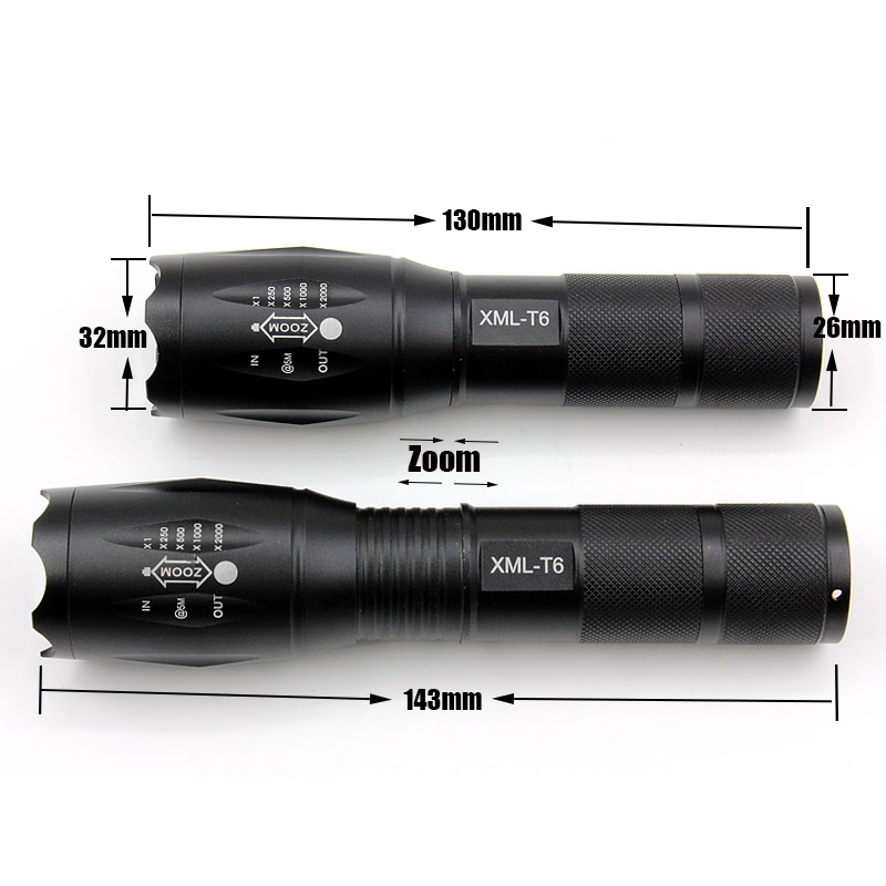 High Quality CREE XML T6 flashlight Zoomable led lanterna Torch lights for Camping Hunting outdoor sports