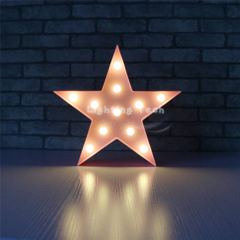 Lovely White/Yellow/Blue/Red/Pink Star Design LED Nightlight Decor Lamps LED light Marquee Sign Cartoon Kids Room Ornament