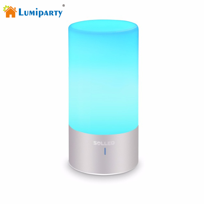 Lumiparty Dimmable Bedside Lamp with Touch Sensor and Color Changing Modes RGB Atmosphere Desk Lamp Smart Sensor Nightlights