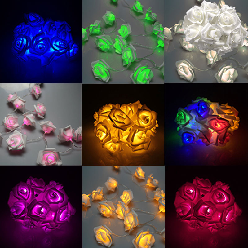 20LED Rose Flower Fairy String Lights Clear Cable Battery Powered for Wedding Bedroom Indoor Decoration   --M25