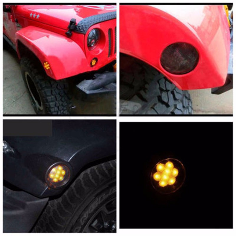 Smoked Amber Parking Side Marker LED Lights Front Fender For JEEP WRANGLER 07-15