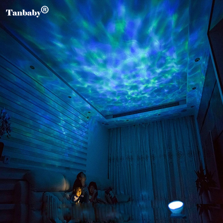 Tanbaby Multicolor Ocean Wave led Projector Night Light With Built-in Music Player and Remote Control For Baby Kids Children