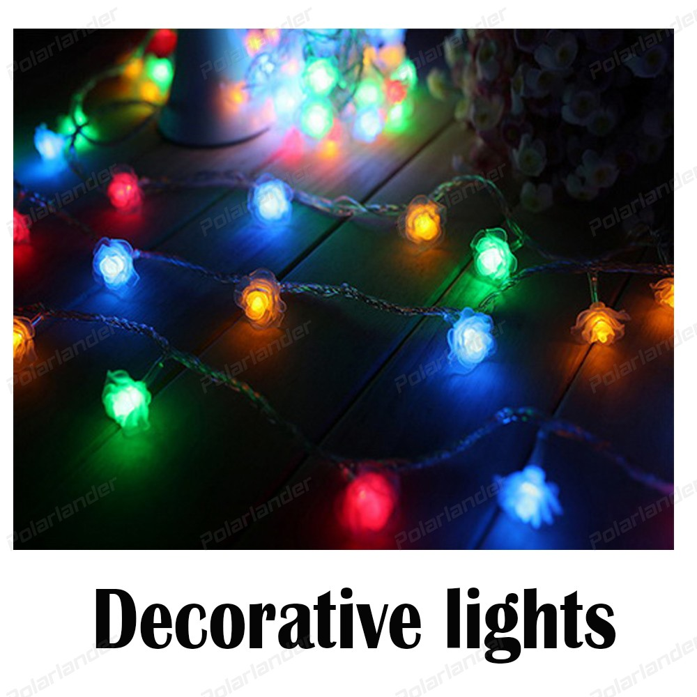 New Arrival 10 m 100 Leds Battery LED Wedding Rose String Lights for Holiday Decoration Supplies