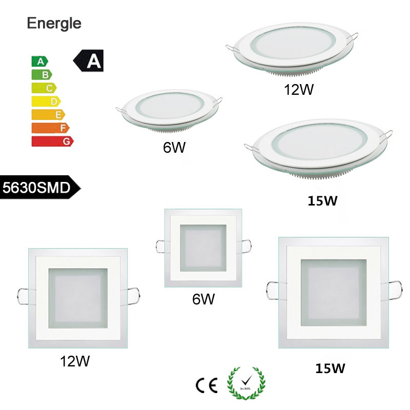 LED Glass Panel Light Recessed Cabinet Wall Lamp Ceiling Light For Kitchen bathroom illumination 6W / 12W/ 15W Indoor Spot Light