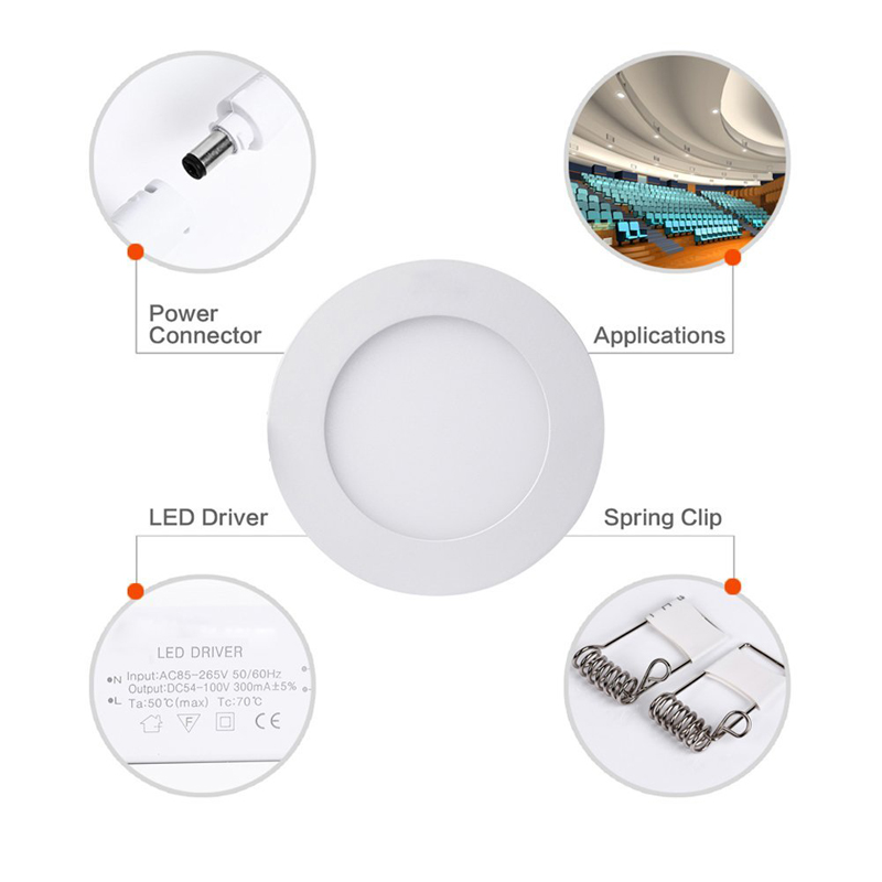 Ultra Thin Led Panel Light AC 110V 220V Ceiling Downlight Round LED Recessed Light Flat Lamp LED Panel Light 3w 6w 9w 12w 15w