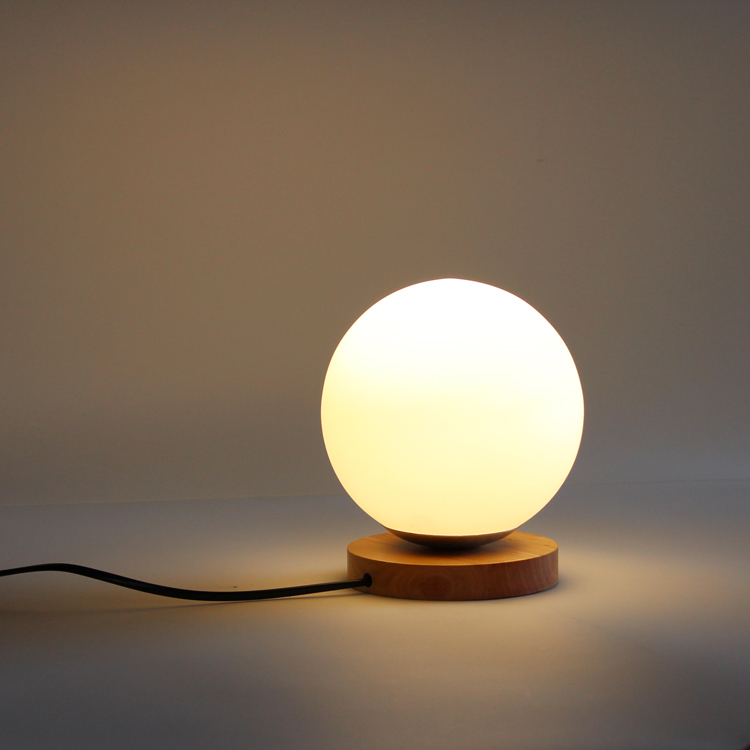 ... New Glass Globe Table Lights Bedroom Wood Base Desk Lamps Study Book  Table Light Fixtures Luminaires ...