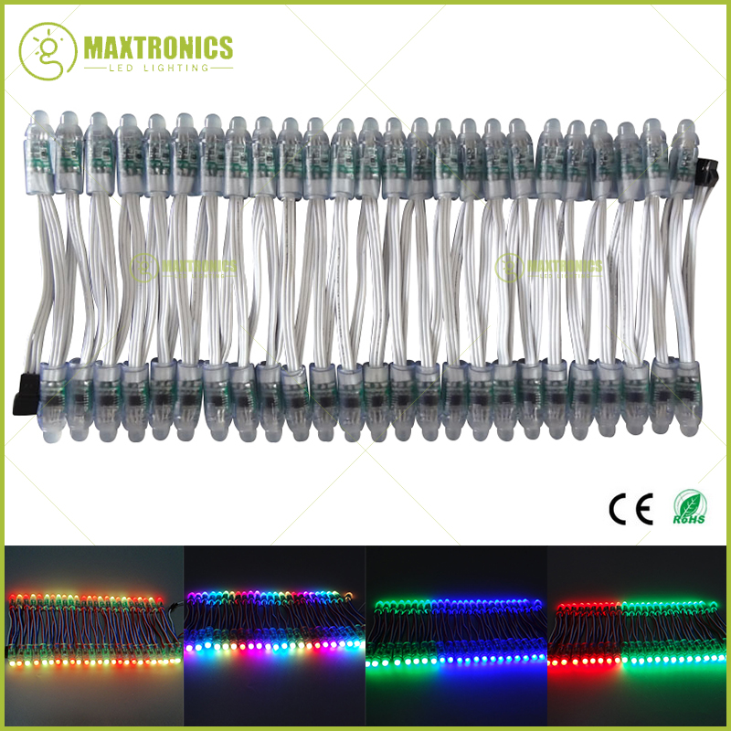 100x WS2811 12V 12mm LED Module,Black/Green/White/RWB Wire String Christmas light;Addressable,IP68 waterproof
