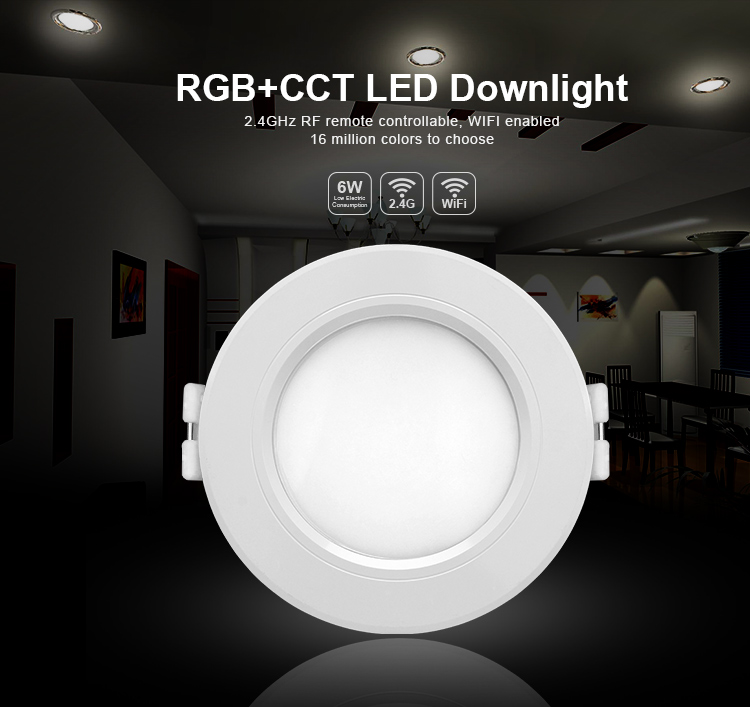 Mi Light 6W/12W RGBCCT (RGB+Warm White/White) led downlight by wifi led controller 2.4G Remote Control Brightness Dimmer