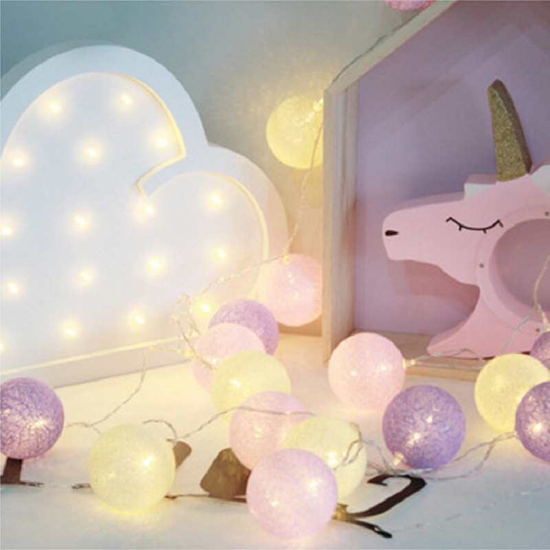Pink and Purple color series Handmade Cotton Ball String Light 3M Bedroom Decorative Garland light with 20pcs Cotton Balls