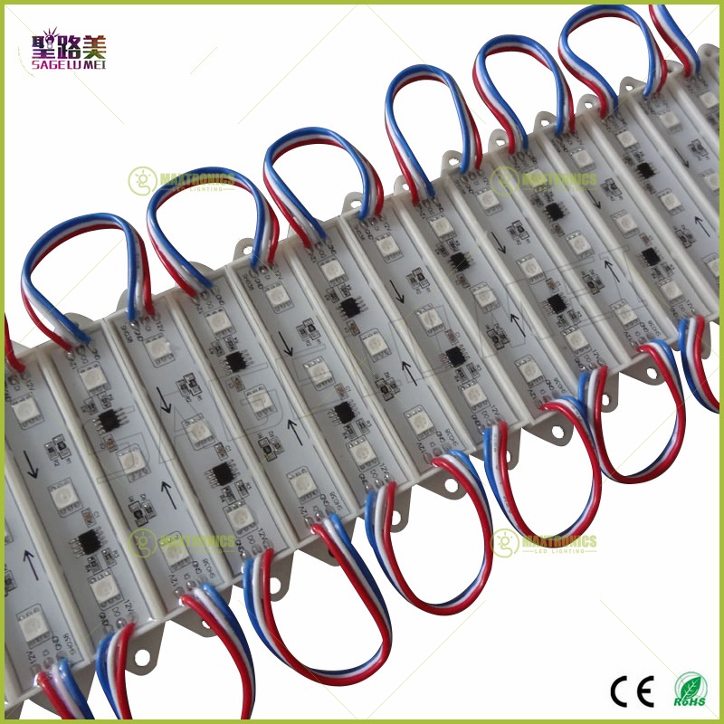 wholesale 20pcs DC12V 3leds 5050 RGB WS2811IC T7515 strings Individually Addressable Full color Waterproof IP68 LED Module Light