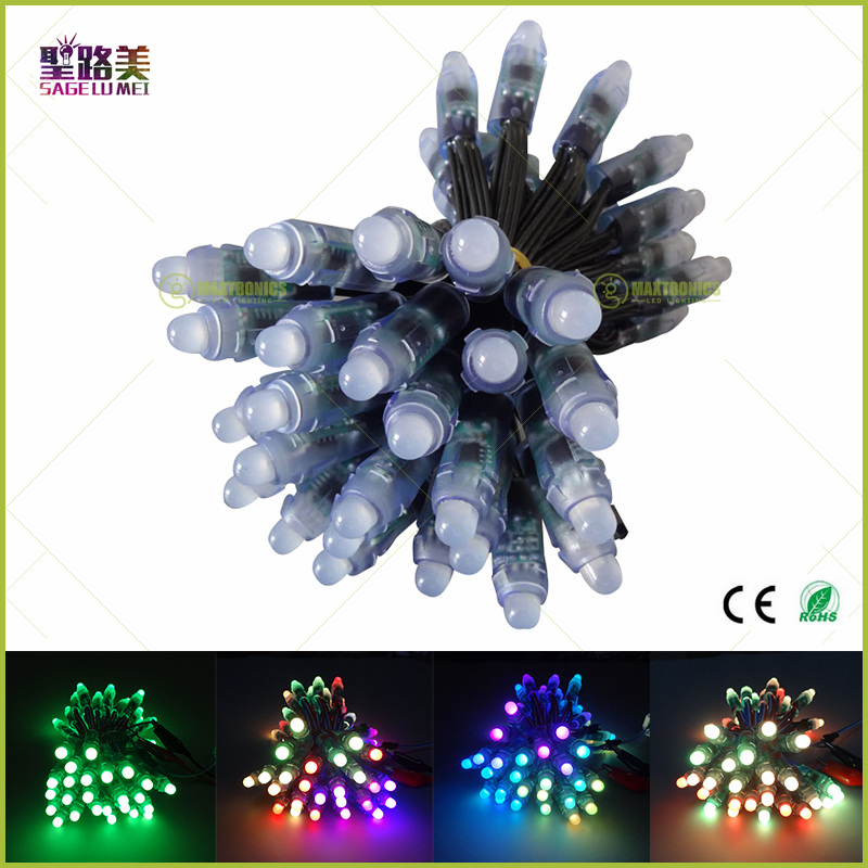 100pcs DC5V/DC12V Black wire WS2811 IC 12mmRGB Led Module String Super bright LED Pixel Light Digital Full Color Waterproof IP68