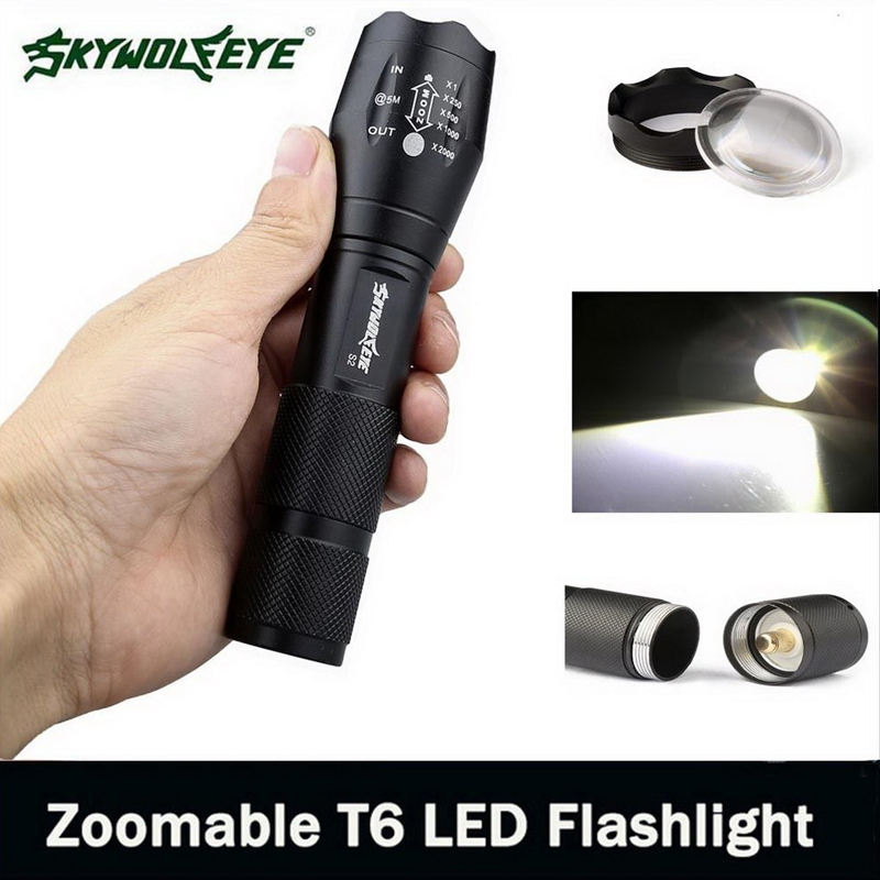 18650 Outdoor Camping 5 Files Flashlight Skywolfeye Brand Torch T6 LED Bicycle Light Zoomable Tactical Flashlight
