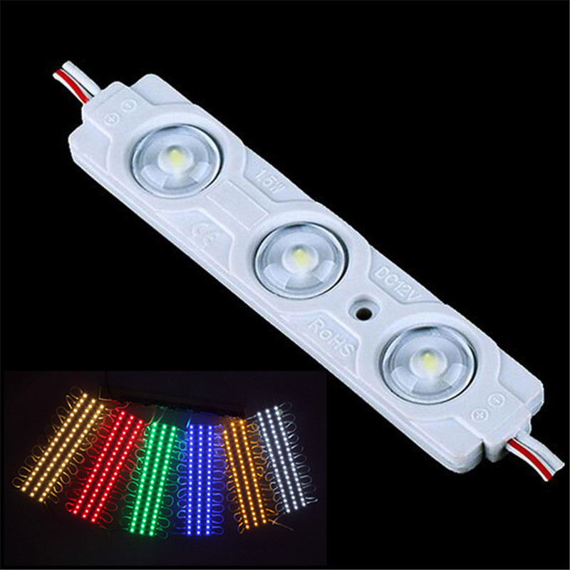 DC12V 0.72W/pc 50-60LM View Angel 160degree IP67 PVC LED Module 3Leds/pc 75*12mm Red Blue Green White Yellow