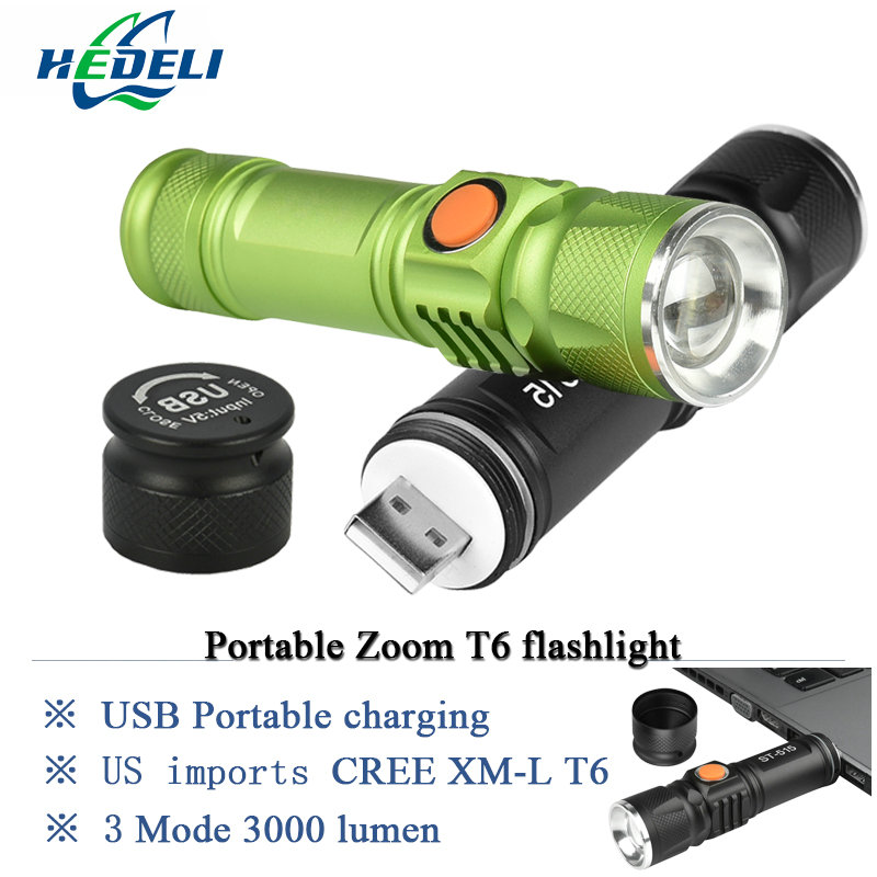 portable light mini USB flashlight CREE XM-L T6 LED torch rechargeable 18650 Built-in battery waterproof flash light 3000 lumen