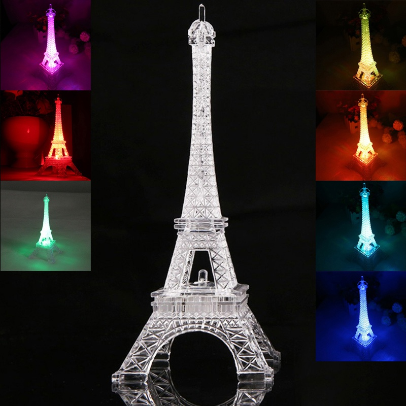 2017 Fashion Eiffel Tower Night Light Colorful LED Lamp In Bedroom Wedding Decoration Home Accessories Party Birthday Gift