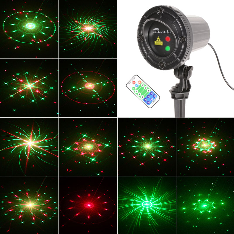 Outdoor Christmas Lights Projector Star Red Green Laser Showers for Home Garden Wedding Decoration Waterproof Decor Light