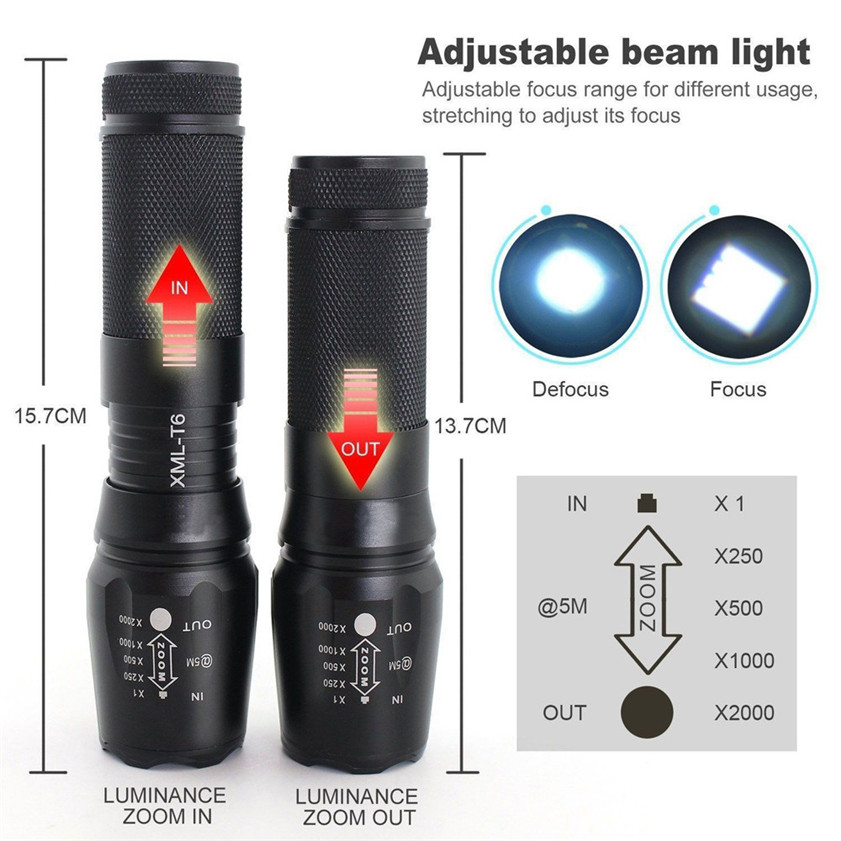 Superz 2x 5000lm X800 ShadowHawk Tactical Flashlight LED Military Grade G700 Torch Lamp 170310