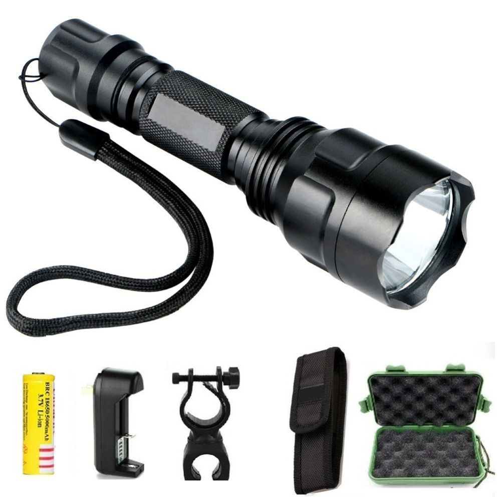 Powerful LED Hunting Tactical Flashlight Torch cree Q5 5-mode torch light lantern Waterproof gladiator flashlight For 1 x 18650