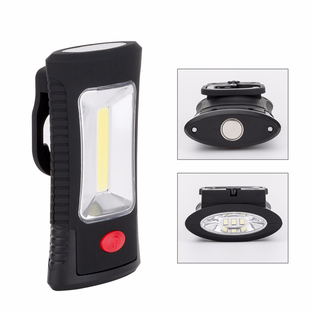 Magnetic COB LED Work Lamp COB+3LEDs 2-Modes LED Flashlight Magnet Working Light Torch Linternas With Folding Hook Stand Support